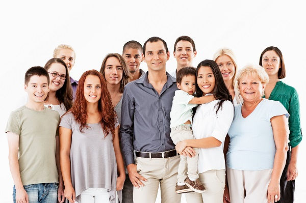 Group of men and women, mixture of ages & races